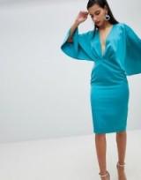 ASOS Satin Cape Kimono Sleeve Deep Plunge Midi Dress ~ turquoise blue plunge front dresses