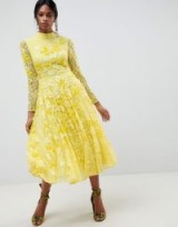 ASOS EDITION All Over Lace Embellished Midi Dress ~ yellow fit and flare dresses