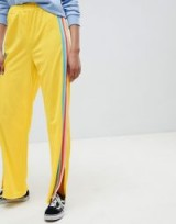 ASOS DESIGN Tall Trackpants with Rainbow Side Stripe and Vent Detail ~ yellow track pants