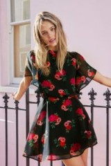 JACK WILLS ASTONY TIE BACK DRESS ~ black floral party dresses