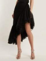 RODARTE Asymmetric pearl-embellished ruffle skirt ~ black ruffled hem skirts ~ event wear