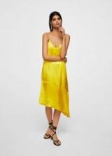 Mango Asymmetrical satin dress ~ silky yellow dresses