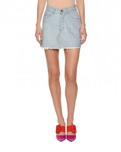 Attico Stone-washed Denim Skirt with Bonded Crystals ~ embellished mini skirts