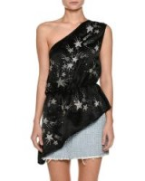 Attico One-Shoulder Crepe De Chine Top with Embroidered Stars ~ black asymmetric tops