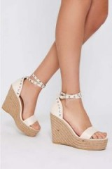 AXELLE CREAM FAUX SUEDE STUDDED WEDGES | ankle wrap wedge sandals