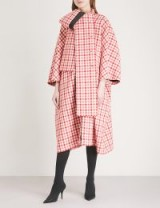 BALENCIAGA Cristobal red and white checked wool-blend coat – oversized coats