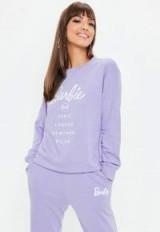 barbie x missguided lilac city printed sweatshirt – logo sweatshirts