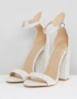 Be Mine Bridal Laurel White Glitter Block Heeled Sandals | glittering party heels