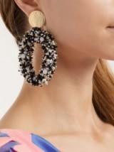 CAROLINA HERRERA Monochrome Bead-embellished hoop-drop earrings ~ black and white beaded statement jewellery