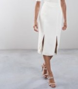 REISS BEAU DOUBLE SPLIT PENCIL SKIRT OFF WHITE / front slit skirts