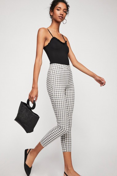 FREE PEOPLE Belle Printed Skinny Trousers / check print skinnies