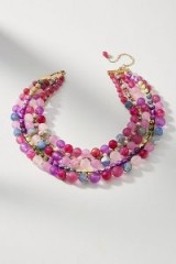 ANTHROPOLOGIE Bernice Layered Necklace | pink beaded statement necklaces