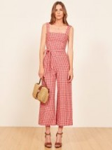 Reformation Birch Jumpsuit in May Check | red checked jumpsuits