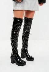 Missguided black cleated sole vinyl over the knee boots – shiny chunky heeled long boots