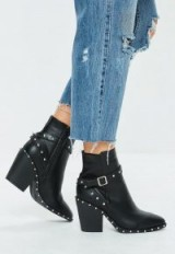 Missguided black faux leather western studded ankle boots – chunky heeled boots