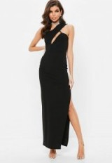 Missguided black one shoulder cut out maxi dress – long glamorous party dresses
