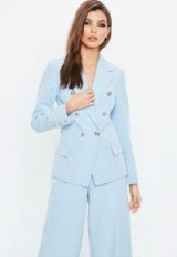 Missguided blue military blazer jacket – gold button jackets