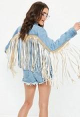 Missguided blue statement fringe back denim jacket | fringed jackets
