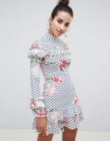 Boohoo Floral And Polka Dot High Neck Dress – romantic mixed print dresses