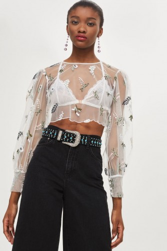 TOPSHOP Botanical Embroidered Mesh Top / sheer floral cropped blouses
