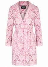 BOUTIQUE MOSCHINO Pink lace coat | luxe tie waist wrap coats