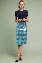 Maeve Brix Sequined Palette Skirt / shimmering blue pencil skirts