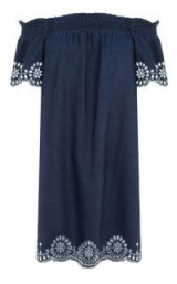 WAREHOUSE BRODERIE ANGLAIS RUCHED DRESS ~ denim bardot dresses