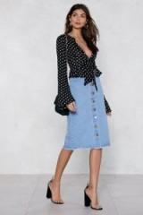 NASTY GAL Button to It Denim Skirt | blue raw hem skirts