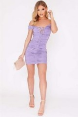 IN THE STYLE CAITRYN LILAC LACE UP RUCHED BARDOT MINI DRESS ~ off the shoulder party dresses