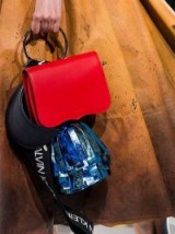 CALVIN KLEIN 205W39NYC LEATHER BAG W/ POUCH, POMPOM & LOGO BAND / designer handbags