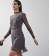 CAMILE EMBELLISHED FIT AND FLARE DRESS CHARCOAL ~ semi sheer fit and flare beaded dresses