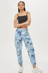 TOPSHOP Camo High Waist Combat Trousers / blue camouflage prints