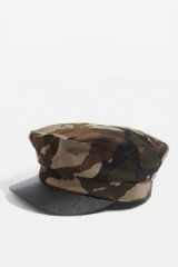 TOPSHOP Camouflage Baker Boy Hat / camo print peaked caps