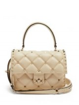 VALENTINO Candystud cream quilted-leather shoulder bag | luxe top handle bags