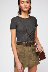 Free People Canvas Relaxed Mini Skirt Olive | green distressed skirts