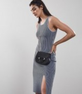 REISS CHARLIE KNITTED RIB DRESS BLUE / sleeveless tank dresses
