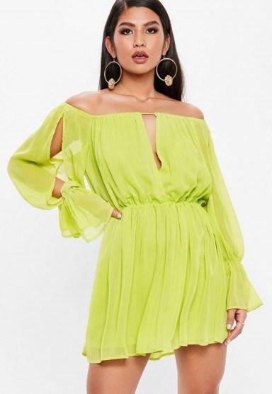 Missguided chartreuse green bardot plunge front long sleeve dress ~ off the shoulder slit sleeved dresses - flipped