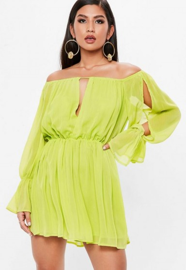 Missguided chartreuse green bardot plunge front long sleeve dress ~ off the shoulder slit sleeved dresses