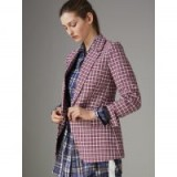 Burberry Check Cotton Tailored Jacket ~ smart burgundy checked jackets