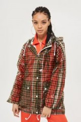 TOPSHOP Checked Frosted Rain Mac / clear check print jackets