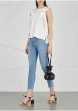 CITIZENS OF HUMANITY White ruffle-trimmed jersey top ~ frill trimmed tee