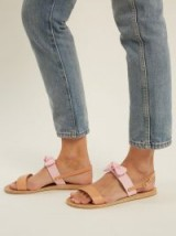 ANCIENT GREEK SANDALS Clio bow-embellished leather and denim sandals ~ tan & pink vacation flats