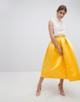 Closet London London Full Prom Sateen Midi Skirt | yellow box pleat skirts