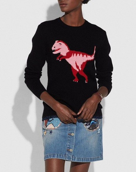 COACH 1941 Rexy Intarsia Sweater BLACK | pink dinosaur jumpers