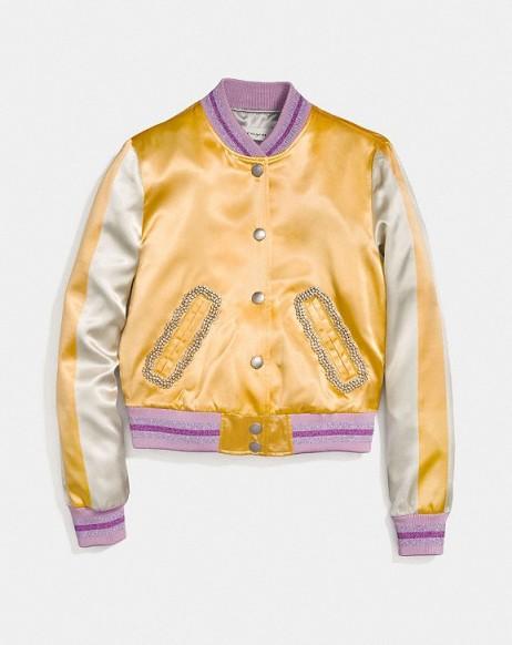 COACH Satin Varsity Jacket DIRTY GOLD | satin bomber jackets