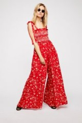 FREE PEOPLE Color My World Jumpsuit / red floral wide leg jumpsuits