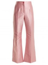 DOLCE & GABBANA Contrast-trim high-rise satin trousers / shiny pink satin pants