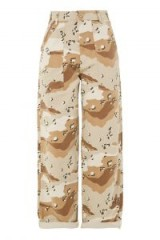 TOPSHOP Cream Camouflage Wide Leg Trousers / light brown camo print pants