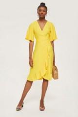 TOPSHOP Crepe Ruffle Midi Wrap Dress ~ yellow ruffled dresses