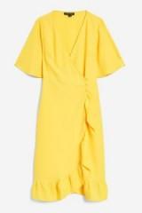 TOPSHOP Yellow Crepe Ruffle Midi Wrap Dress